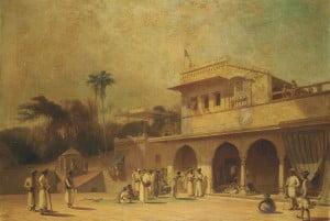 Девушка, танцующая перед входом в индийский дворец